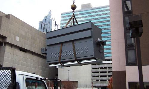 Lifting New Boiler to Multi-Story Hotel Roof
